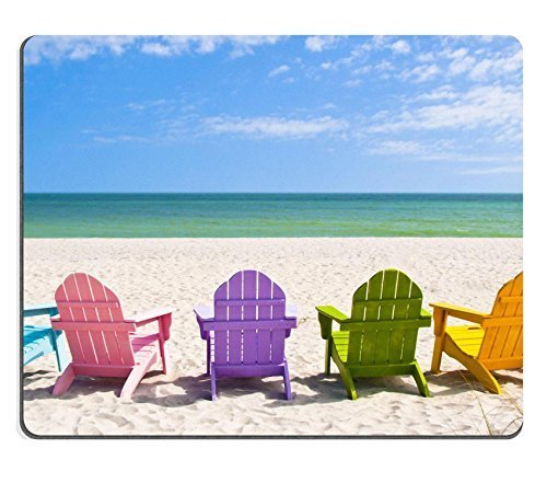 Vacation Mouse (Liili Natural Rubber Mouse Pad Adirondack Beach Chairs on a Sun Beach in front of a Holiday Vacation Travel house IMAGE ID 28950860)