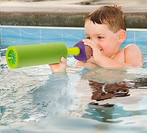 Water Blaster Soaker Gun - 4 Pack Safe Foam Noodles Pump Action Outdoor Water Toy for Kids and Adults - Pool Beach Yard and Park Play. 4 Animal Figures in 4 Bright Colors. Up to 30 ft. Blast