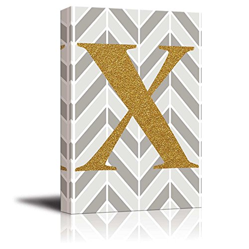 The Letter X in Gold Leaf Effect on Geometric Background Hip Young Art Decor