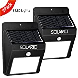 Solar Powered Security Floodlights - Set of 2 - Motion Activated Lights- Wireless Outdoor Light- 80 Lumen Ultra Bright LEDs- Peel and Stick- Best for Patio, Garden, Path, Pool, Yard, Deck (Black) (2)