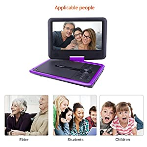 """ieGeek 11.5"""" Portable DVD Player with Game Joystick, 360° Swivel Screen, 5 Hour Rechargeable Battery, Support USB/SD Card, Directly Play AVI/RMVB/MP3/JPEG, Purple"""