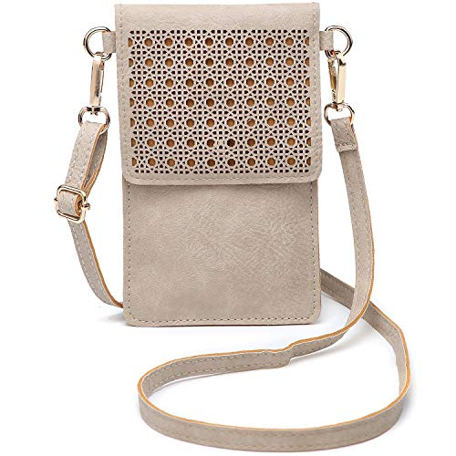 (seOSTO Small Crossbody Bag Cell Phone Purse Wallet with 2 Shoulder Strap Handbag for Women Girls (Beige))