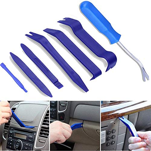 BTkviseQat Auto Trim Removal Tool,7 Pieces Door Panel Removal Tools,Car Trim Tool with [Free Fastener Remover] for Car Dash Center Console, Vehicle Audio/Radio Installation and Removal