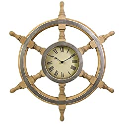 26 Nautical Boat Wheel Rustic Wall Clock with Roman Numerals