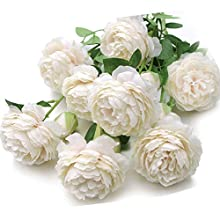 New-Set of 4 Mixed Blooms & Buds Silk English Cabbage Rose Spays in Blush Cream, Faux Flowers Stems Greenery for Wedding Home Business Decoration