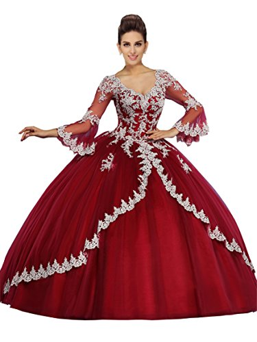 66a3ec63be9 2018 Quinceanera Dress Lace Prom Dresses Ball Gown Juliet Long Sleeve V-neck  Appliques Beaded Party Dresses Burgundy 2