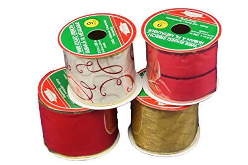 Christmas House Red, White, and Gold Wire Edged Fabric Ribbon Assortmet-Set of 4
