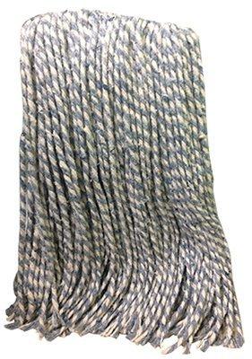 Abco 01301-TS Blue & White Ribbon 12 oz 4 Ply Cotton Pro Mop Heads - Quantity 24