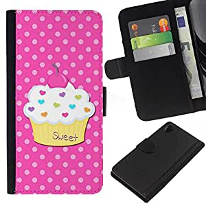 All Phone Most Case / Oferta Especial Cáscara Funda de cuero Monedero Cubierta de proteccion Caso / Wallet Case for Sony Xperia Z2 D6502 // Sweet Pastry Polka Dot Pink