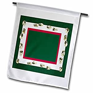 Beverly Turner Christmas Design - Gold Jingle Bells on Green, White, and Red - 18 x 27 inch Garden Flag (fl_62736_2)