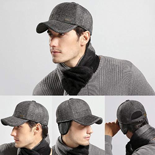 WEEKEND SHOP Wool Feel Baseball Cap Russia Winter Hats Warm with Fleece Inside and Earflaps Men's Caps Vintage Baseball Hat Z-5001 Black