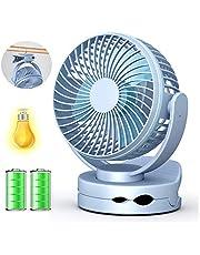 Siivton Mini Ventilateur à Clipper, Ventilateur USB sur Table Ultra Silensieux et Rechargeable 3600mAh, 4 Vitesses,pour Bébé Poussette, Maison, Bureau