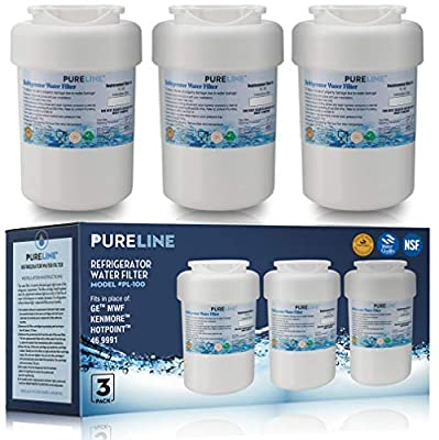 GE MWF Refrigerator Water Filter Smartwater Compatible Cartridge - By Pure Line (3 Pack)