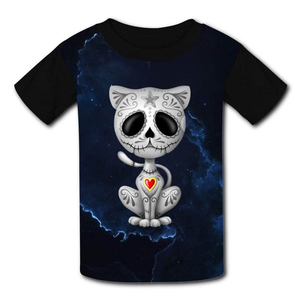 Kids T-Shirts Gray Zombie Sugar Kitten Cat Cool 3D Printed Short Sleeve Top Tees for Boys Girls