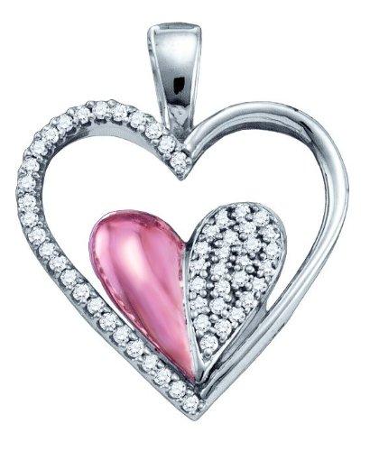 10K Or Blanc 0,20DWT Diamant Pendentif Coeur serti de micro-or de qualité plus élevé que or 9carats