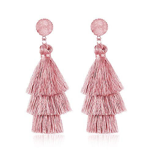 Colorful Layered Tassel Earrings Bohemian Dangle Drop Tiered Tassel Druzy Stud Earrings Women Gifts