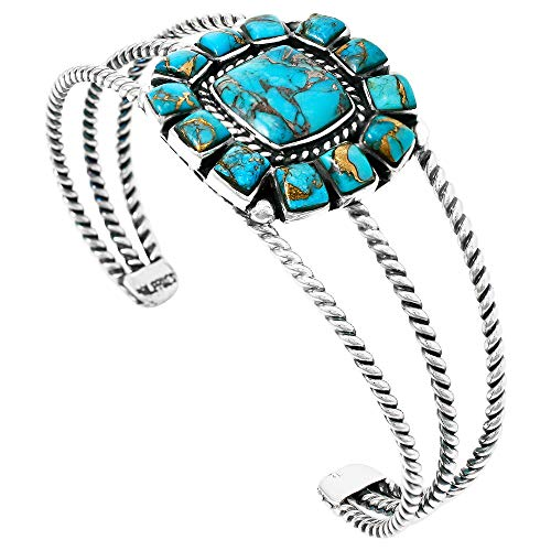 Turquoise Bracelet Sterling Silver 925 & Genuine Copper-Infused Matrix Turquoise (Choose Style) (Cable w/Squares)