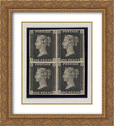 William Wyon - 20x22 Gold Ornate Frame and Double Matted Museum Art Print - Unused Block of Four Penny Black Postage Stamps of Queen Victoria