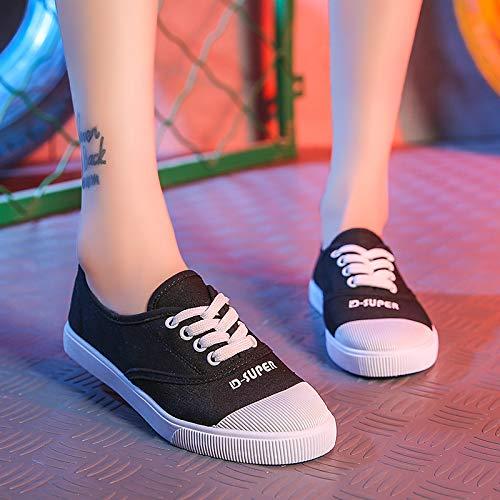 Tela pu bianco Punta Da Scarpe Camminata Black Primavera Tonda Donna nero poliuretano estate Tacco Sneakers Zhznvx Bianco Comfort Nero Piatto xOCtUc