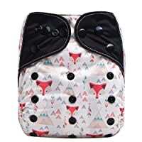 HappyEndingsTM  Night, Night  Charcoal Bamboo Pocket Cloth Diaper + 5 Layer Charcoal Bamboo Insert  Tribal Fox