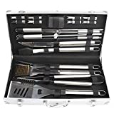 mockins Stainless Steel 19 Piece BBQ Grill Tool Set Includes A Variation Of Heavy Duty Barbecue Grilling Utensils With An Aluminum Carrying & Storage Case