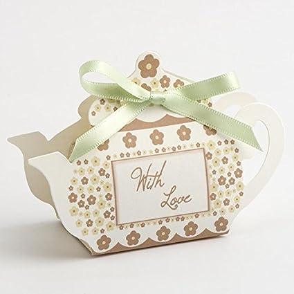 Amazoncom Wedding Party Favour Boxes Tea Pot Pink Taupe Pk 10