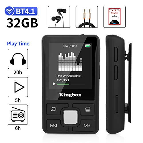 MP3 Player, 32GB Music Player with BT 4.1, Audio Walkman with Wearable Clips Support E Book,Voice Recorder,FM Radio,Photo Viewer, Expandable Up to 128 GB (Wearable Walkman)