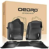 oEdRo Floor Mats Compatible for 2014-2018 Silverado/Sierra 1500 Double Cab, 2015-2018 2500/3500 HD, Front and Rear Liners