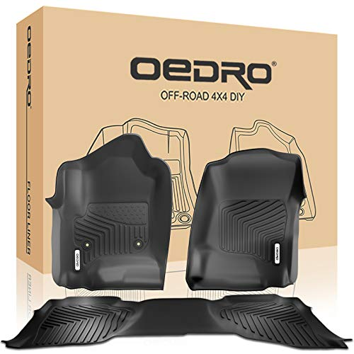 - oEdRo Floor Mats Compatible for 2014-2018 Chevrolet Silverado/GMC Sierra 1500, 2015-2019 Chevrolet-GMC Silverado/Sierra 2500HD/3500 HD, Double Cab Only, All Weather Guard 1st and 2nd Row Liners