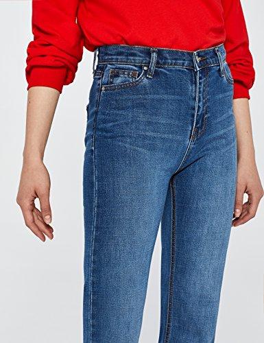 Blu Vintage Find mid A Jeans Caviglia Vita Alla Donna Dritti Alta 8w8zrqxva