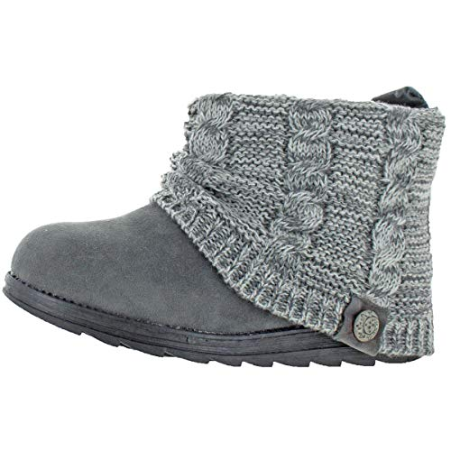 MUK LUKS Patti Women's Cable Knit Cuff Booties Boots Dk Grey Size 7