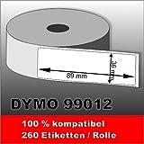 10 x Dymo Label 99012 89x36 mm 2600 Etiketten 100% kompatibel zu Dymo