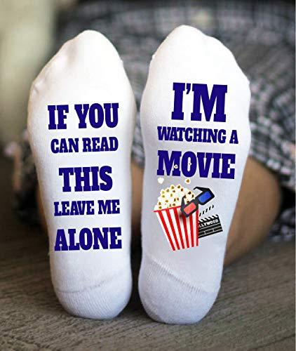 Movie Night Socks Funny Birthday Gifts For Her Him Novelty