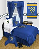West Virginia Mountaineers - Locker Room - 4 Pc QUEEN Comforter Set and One Matching Window Valance (Comforter, 2 Shams, 1 Bedskirt, 1 Matching Window Valance) SAVE BIG ON BUNDLING!