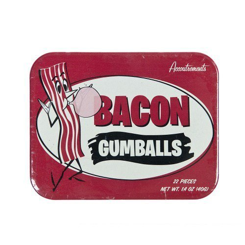 Bacon Flavored Gumballs In Tin by - Gum Box Tin