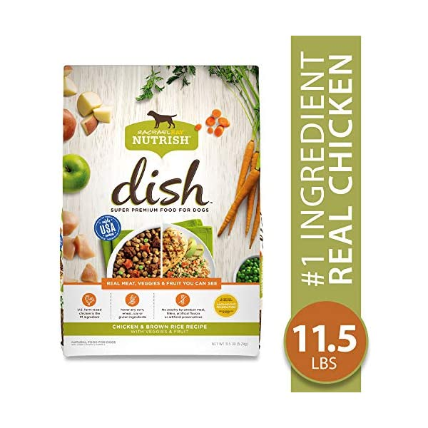 Rachael Ray Nutrish Dish Natural Premium Dry Dog Food, Chicken & Brown Rice Recipe With Veggies & Fruit, 11.5 Lbs