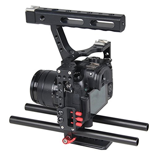 Camera Cage, PULUZ Professional Aluminum Alloy Video Handheld Stabilizer Rig Kit with Top Handle Grip + Rail Rod for Panasonic G7 Lumix DMC-GH3/GH4 & Sony A7/A7S/A7R/A7RII/A7SII (Red)