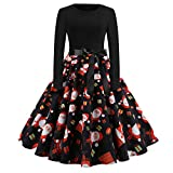 Makeupstore Women's Vintage Print Long Sleeve Christmas Evening Party Swing Dress