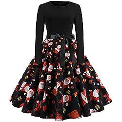Christmas Dresses for Women Plus Size,Women's Long Sleeve Pleated Loose Swing Casual Dress Knee Length HunYUN