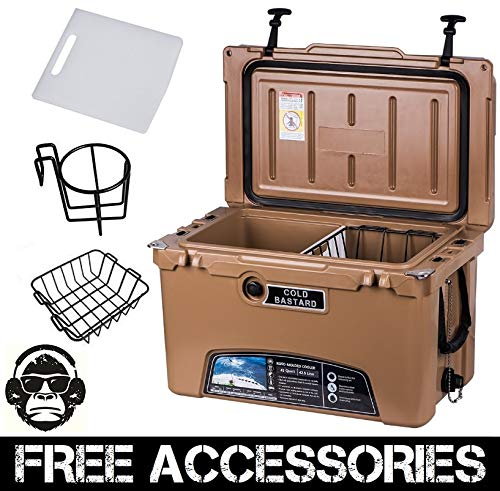 45QT CAMEL TAN COLD BASTARD Rugged Series ICE CHEST COOLER Free Accessories YETI Quality Free S&H (Series Baskets Cb)