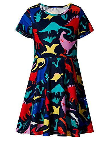 RAISEVERN Girls Short Sleeve Dress 3D Print Cute Colorful Dinosaur Pattern Summer Dress Casual Swing Theme Birthday Party Sundress Toddler Kids Twirly Skirt -