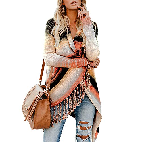 (Exlura Women's Open Front Knitted Tassel Cardigan Stripes Slash Hem Loose Sweater Poncho )