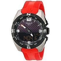 Tissot Men's 'T-Touch Expert' Swiss Quartz Titanium and Silicone Dress Watch, Color:Red (Model: T0914204705700)