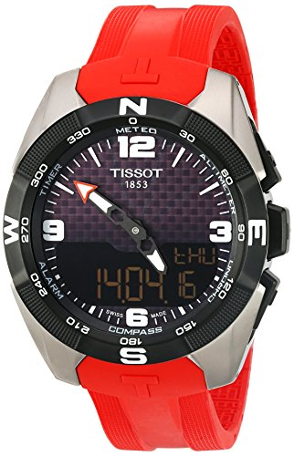 Tissot Men's 'T-Touch Expert' Swiss Quartz Titanium and Silicone Dress Watch, Color:Red (Model: ()