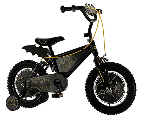 MV Sports Boys' Kids Bike Black 14 Inch 1 Speed Bat Shaped Plaque and Fin Printed Wheel Discs and Printed Frame Insert 14-Inch Black