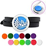 Lademayh Essential Oil Bracelet Diffuser for Kids Women, 25mm Music Note Magnetic Stainless Steel Diffuser Locket, Aromatherapy Bracelet Jewelry with 12 Colors Felt Pads