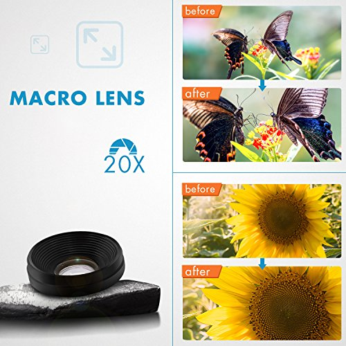Phone Camera Lens 3 in 1, 20X Macro Lens, 198° Fisheye Lens, 0.62X Wide Angle Lens Clip On Universal HD Cell Phone Lens Kit Compatible Samsung iPhone6S/6Plus/6/Se/5/5S, Android Smartphones and More by COOLOO (Image #5)