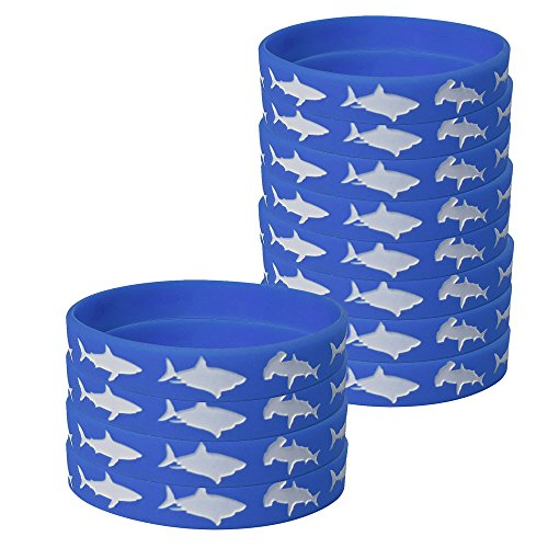 Shark Kids' Wristbands (12), Shark Party Supplies, Kids' Wearables, Birthday Favors (Bracelet Style Wave)