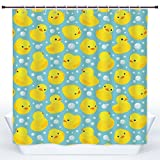 SCOCICI Cool Shower Curtain,Nursery,Cute Happy Rubber Duck and Bubbles Cartoon Pattern Childhood Kids Theme Art,Aqua and Yellow,Polyester Shower Curtains Bathroom Decor Set with Hooks