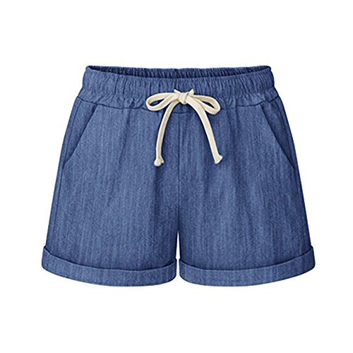 Yknktstc Womens Plus Size Elastic Waist Cotton Linen Casual Beach Shorts with Pockets Large Denim Blue
